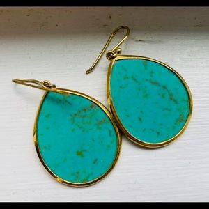 Neiman Marcus-Turquoise And Gold Drop Earrings